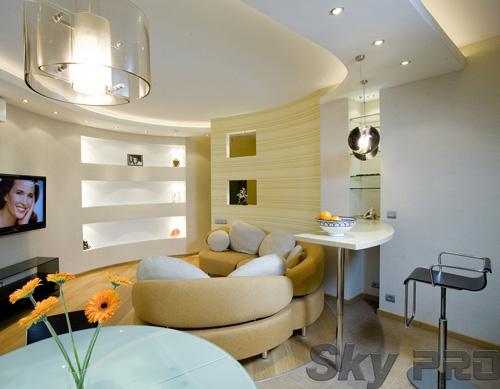 Установка двухуровневой конструкции в гостиной